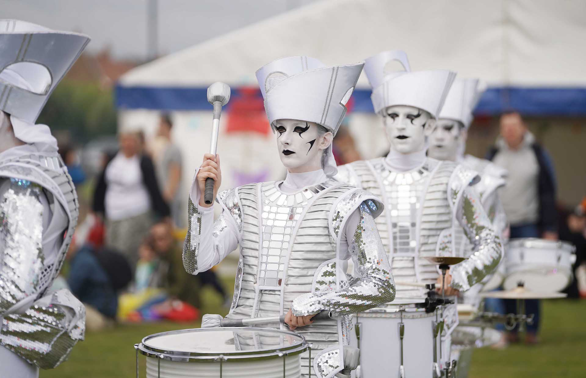 Drummer boys in white face paint and costumes at Seaham Food Festival
