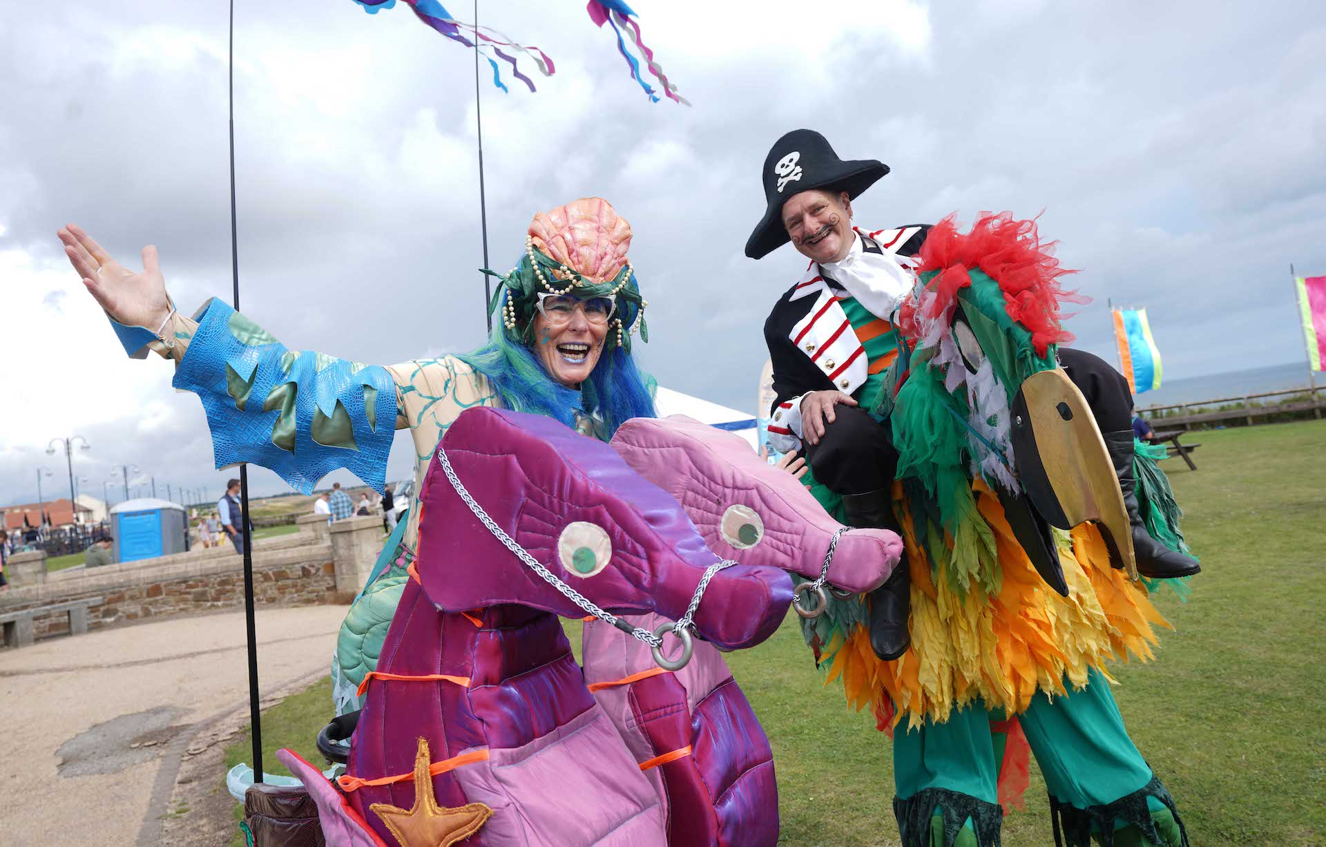 Pirate Parrot costume and Seahorse costume at Seaham Food Festival