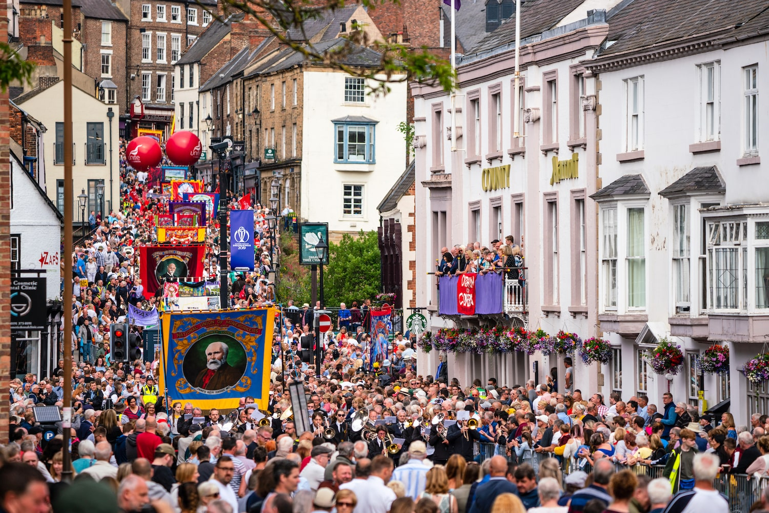 Crowds and banners at Durham Miners Gala