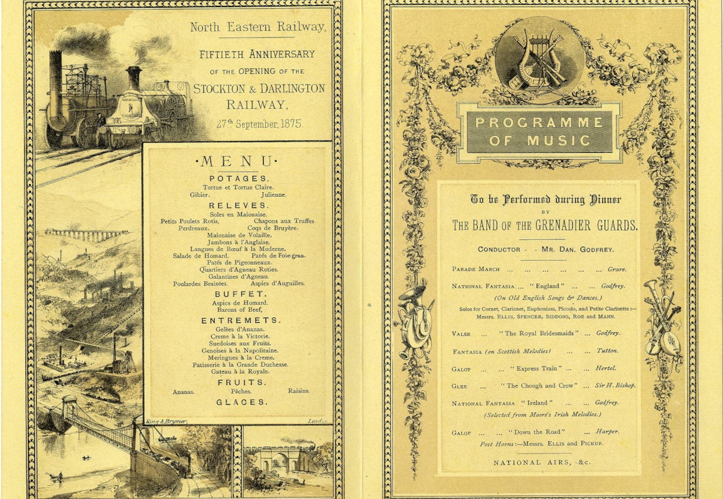 Heritage image of menu and programme for the fiftieth anniversary of the opening of the Stockton and Darlington railway in 1875