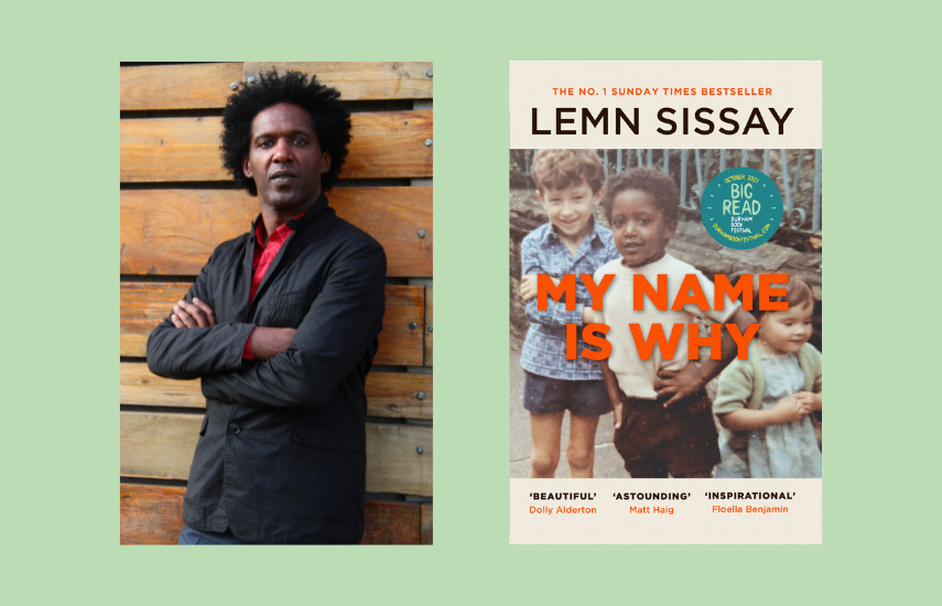 """A picture of author Lemn Sissay and the front cover of his book called """"My Name is Why"""""""